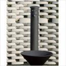 陶器の立水栓柱(黒釉)&陶器の水鉢【蛇口1個付】