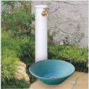陶器の立水栓柱(白釉)&陶器の水鉢【蛇口1個付】