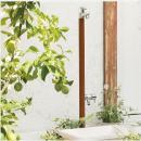 ナチュラル木目調ジラーレW (補助蛇口付) 立水栓柱