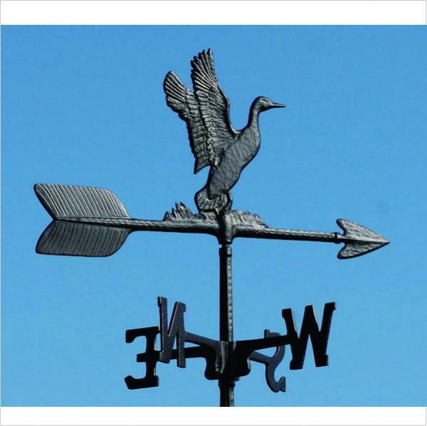 アルミ製風見鶏 ダック 黒色/ 小型  アルミ製 風見鶏 付属の取付ベースは、角度のある場所にも